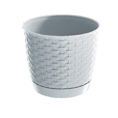Ratolla Round műanyag virágcserép, 22 m.19,5cm,4,2l,FEH (S449) alátéttel