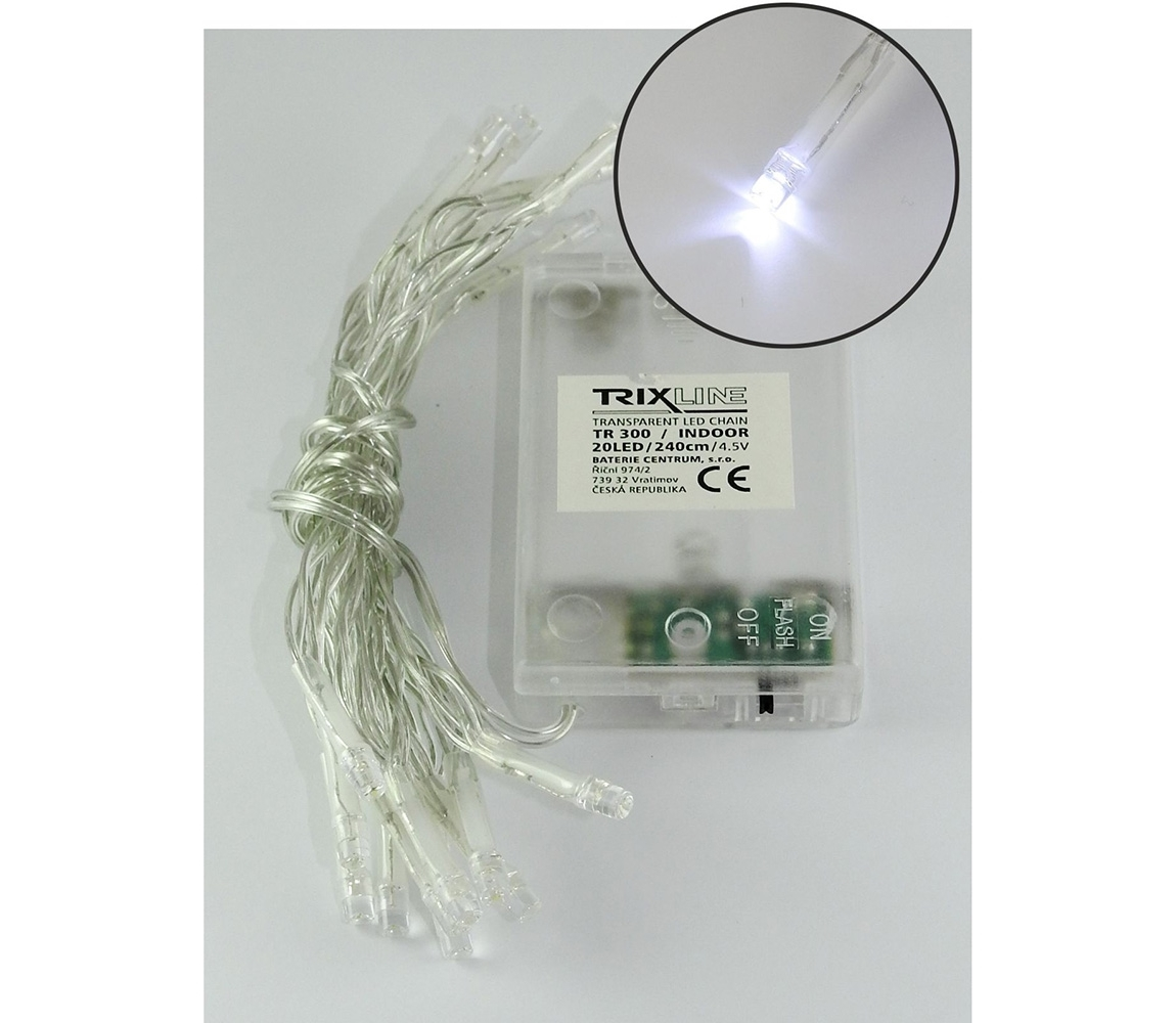 Baterie centrum LED Karácsonyi lánc 2,4 m 20xLED/3xAA 6500 K