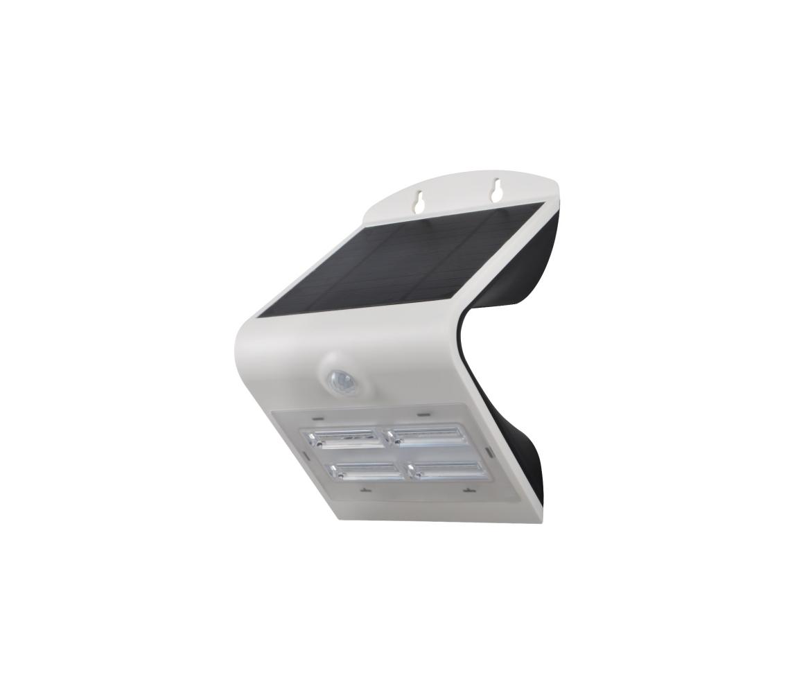 Érzékelős solár fali lámpa LED/2W IP65 ezüst